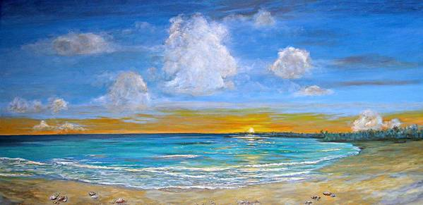 Seascape Art Print featuring the painting Bay Of Tranquility by Jeannette Ulrich