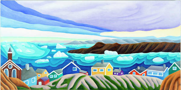 Arctic Landscape. Greenland Art Print featuring the painting 69 Degrees 13 Minutes North by Lynn Soehner