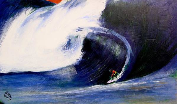 Surf Art Print featuring the painting Big Tunnel Dharma by Paul Miller