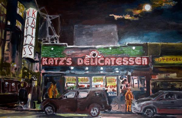 New York City Paintings Art Print featuring the painting Katz Deli by Wayne Pearce
