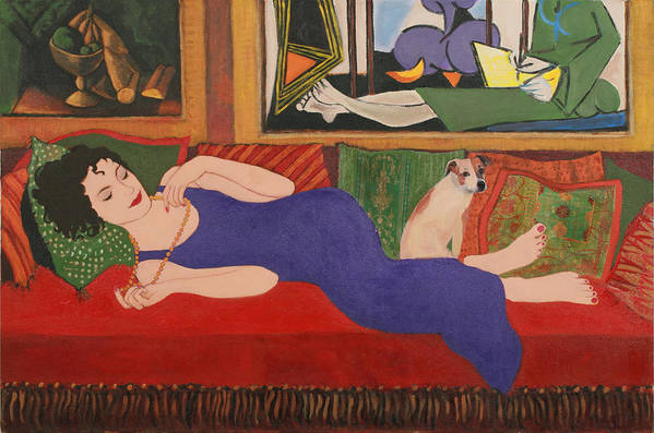 Humorous Art Print featuring the painting Lounging With Picasso by Susan Rinehart