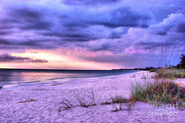 Seashore Beach Tropical Sunset Ocean Coastal Art Print featuring the painting Sanctuary by Carolyn Staut