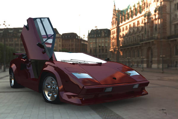 Countach Lambourghini Italian Sportscars Art Print featuring the digital art Hop In by Steven Palmer