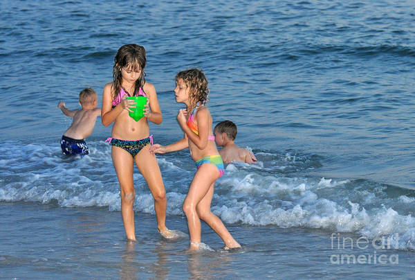 Kids Art Print featuring the photograph Kids At The Beach by Rose Hill