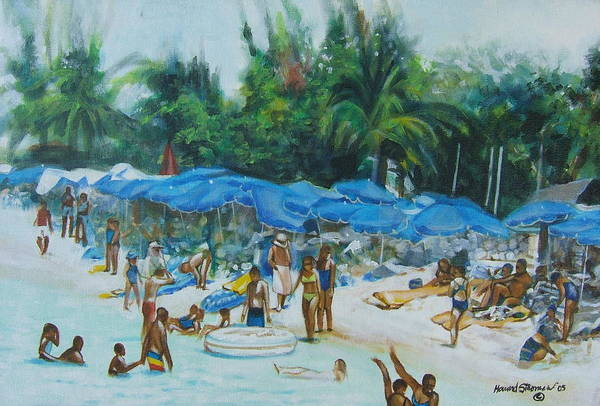 At The Beach Art Print featuring the painting Intimacy On Vacation by Howard Stroman