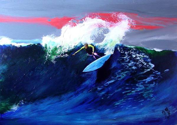 Surf Art Print featuring the painting Winter Sunset Off Swamis Encinitas by Paul Miller