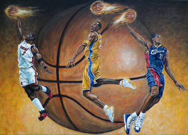 Basketball Art Print featuring the painting Masters Of The Game by Billy Leslie