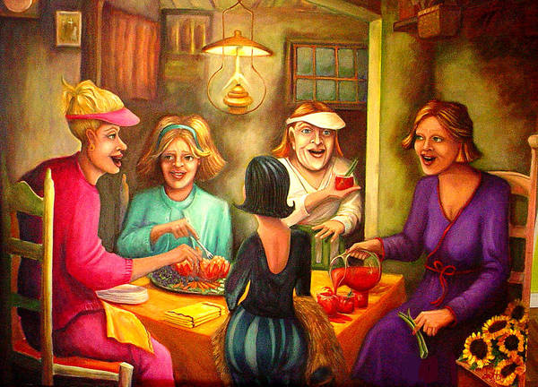 Women Art Print featuring the painting Tomato Eaters by Joetta Currie