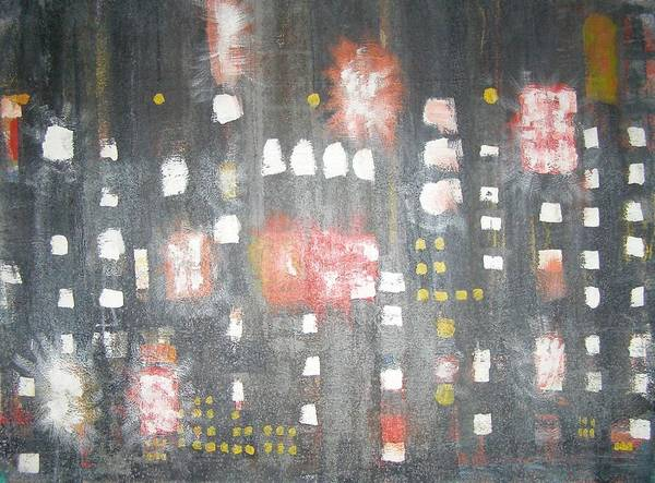 Abstract Art Print featuring the painting Nyc In The Rain by Don Phillips