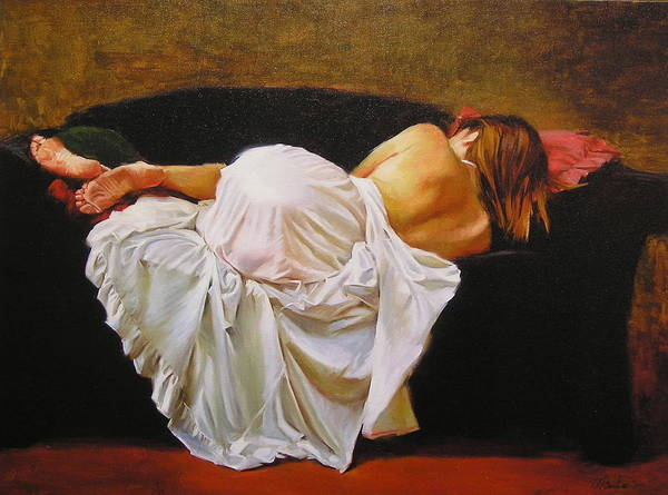 Reclining Figure Art Print featuring the painting Gowned by Ron W McDowell