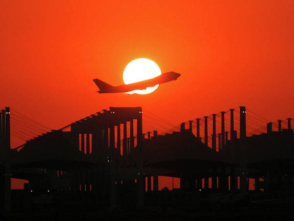 B747 Art Print featuring the photograph B747 Sunset Take-off by Graham Taylor
