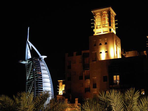 7 Star Hotel Art Print featuring the photograph Madinat And Burj Al Arab Hotels by Graham Taylor