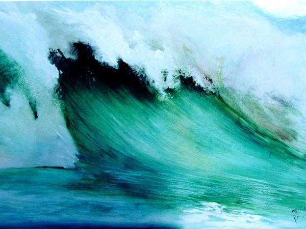 Surf Art Print featuring the painting Slaughterhouse Beach Maui by Paul Miller
