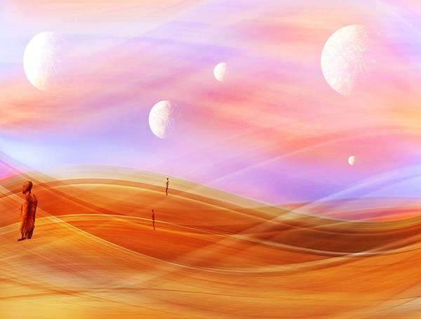 5 Art Print featuring the digital art 5 Moons by Karen Shivas