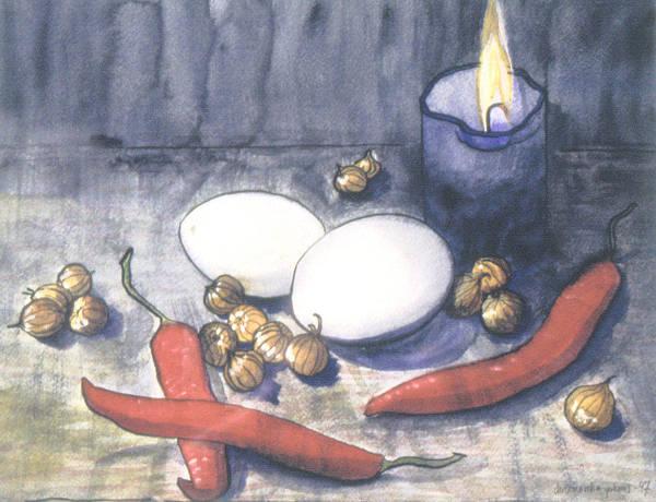 Still Life Art Print featuring the painting Hot Kitchen by Ingela Christina Rahm