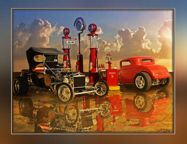 Street Rods Art Print featuring the painting 2at Pumps by John Breen
