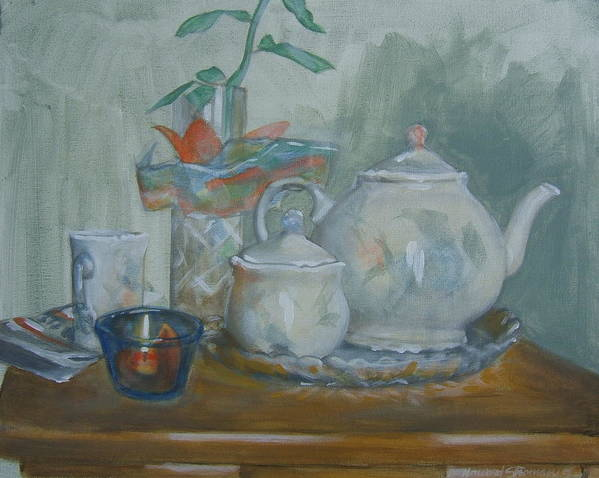 Still Life Art Print featuring the painting Peaceful Morning by Howard Stroman