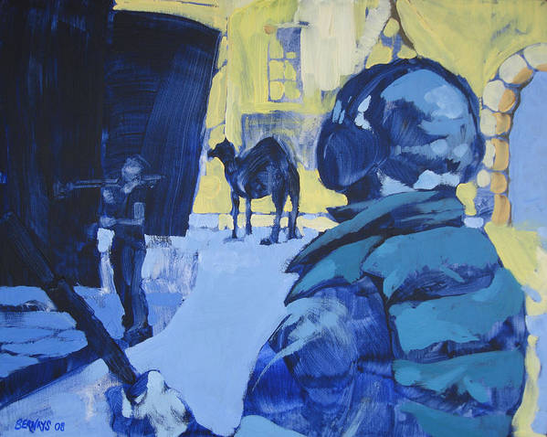 Camel Film Set Blue Yellow Landscape Painting Realistic Art Print featuring the painting the Sound Man and the Camel by Amy Bernays