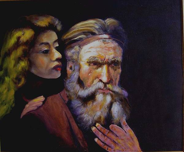 Portrait Of Matthew And Angel Art Print featuring the painting Rembrandt - Study by George Markiewicz