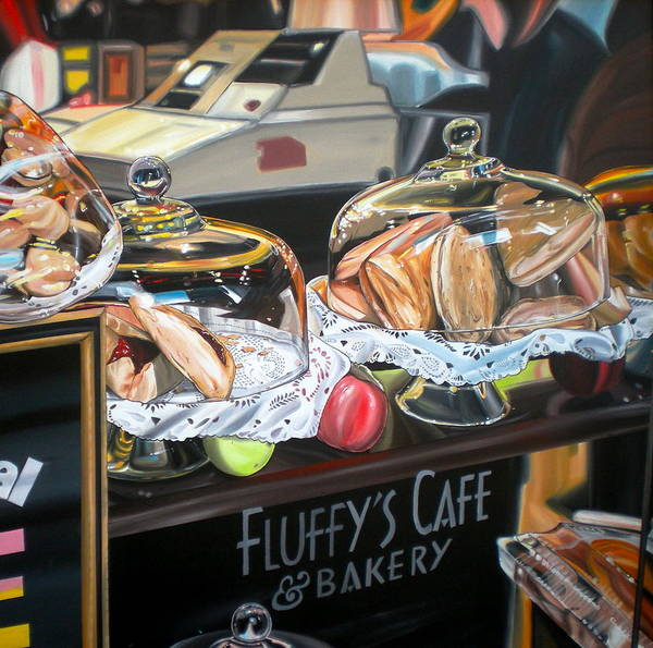 Nyc Art Print featuring the painting Fluffy's Cafe by Anthony Mezza