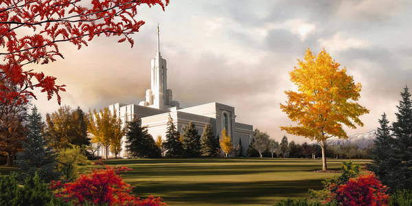 Mount Art Print featuring the painting Mount Timpanogos Temple #2 by Brent Borup