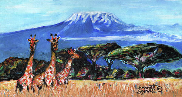 Everett Spruill Art Print featuring the painting Three Giraffes by Everett Spruill