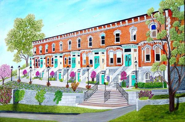 Belleville Ontario Buildings Painting Art Print featuring the painting Bellevue Terace circa 1876 by Peggy Holcroft