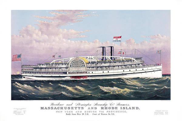 Paddle Steamer Massachusetts - Currier and Ives - Vintage Poster Print by Vertigo Creative