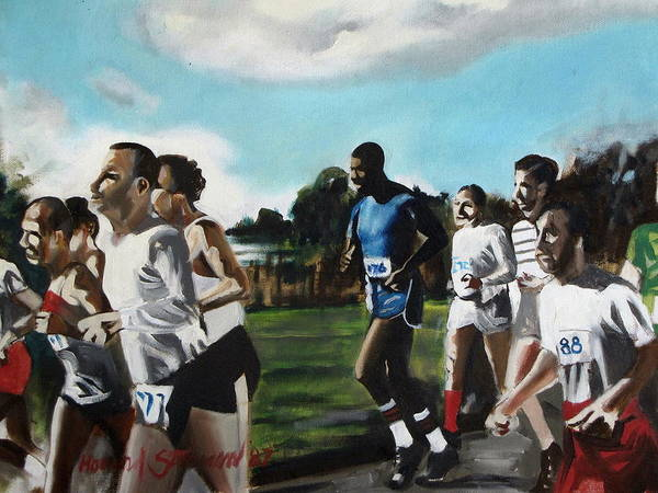 Jogging;sports;group Sports;landscape;running;lake;sky;clouds;outdoors Art Print featuring the painting Runnin' by Howard Stroman