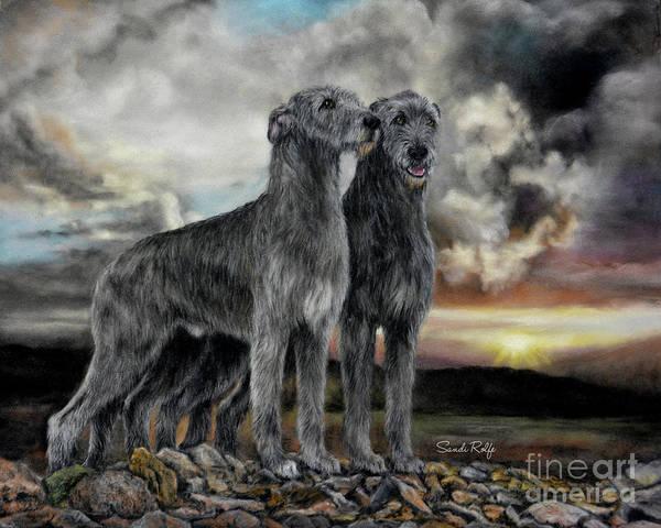 Irish Wolfhound Pair - Majestic Irish Sunset by Sandi Rolfe