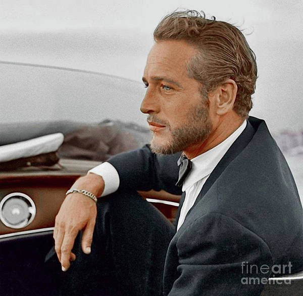 Hand Colored Picture of Paul Newman, Movie Star, Cruising Venice - Italy by Doc Braham