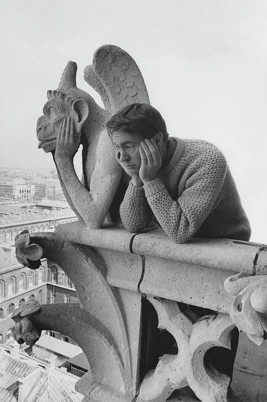 Model Beside Notre Dame's Gargoyle Le Penseur by Reid Miles