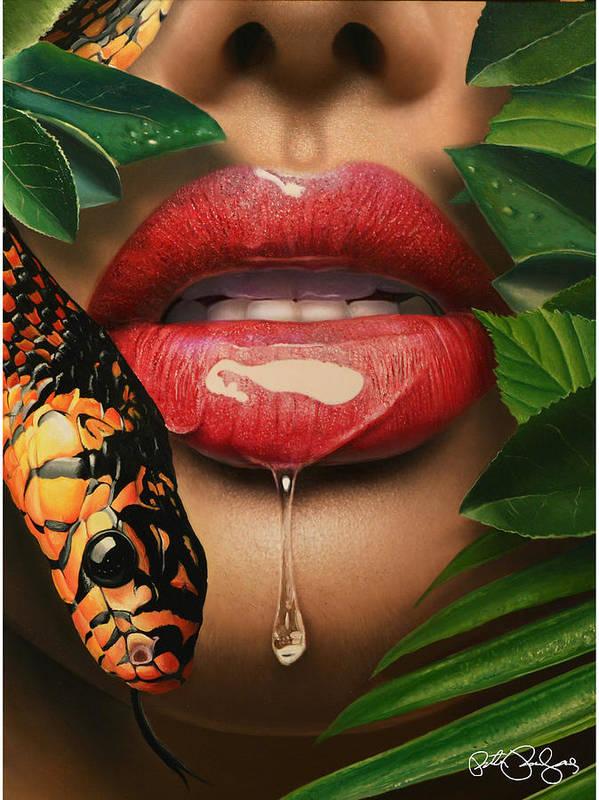 Eden Art Print featuring the painting Forbidden Fruit by Peter Perlegas