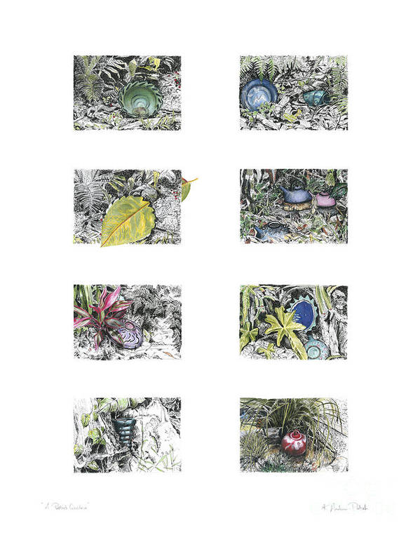 Tropical Art Print featuring the drawing A Potters Garden by Kerryn Madsen-Pietsch