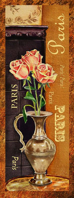 Rose Art Print featuring the painting Paris Roses by Irina Sztukowski