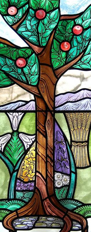 Stained Glass Art Print featuring the glass art Landscape With Flora by Gilroy Stained Glass