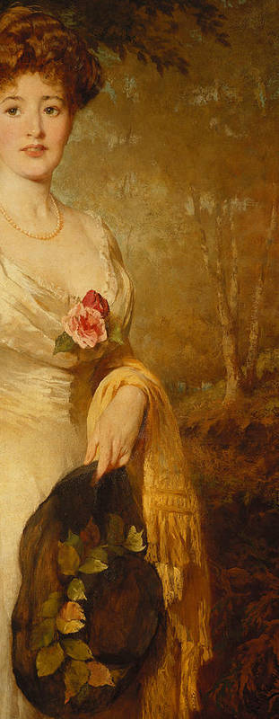 British Art Print featuring the painting Portrait Of A Lady In A White Dress by George Elgar Hicks