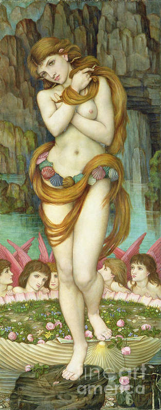 Pre-raphaelite Art Print featuring the painting Venus by John Roddam Spencer Stanhope