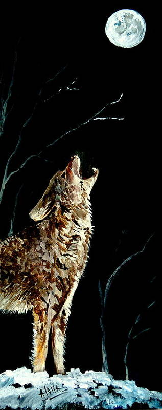 The Night Of The Wolf Art Print featuring the painting The Night Of The Wolf by Amalia Jonas