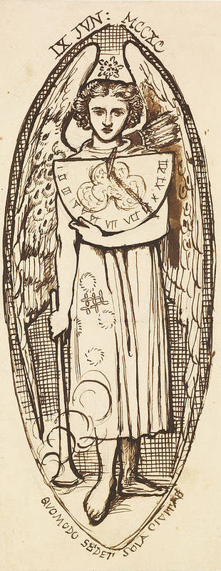 Dante Gabriel Rossetti Art Print featuring the drawing Dantis Amor - Study Of Love With A Sundial And Torch by Dante Gabriel Rossetti
