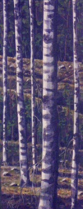 Birch Art Print featuring the painting Reaching For The Sky II by Maren Jeskanen