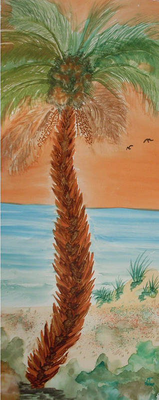 Palm Landscape Watercolor Sunset Art Print featuring the painting Sunset Palm by Warren Thompson