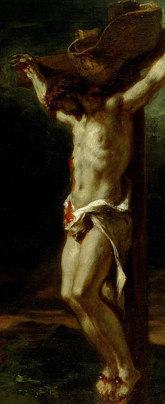 Jesus Print featuring the painting Christ On The Cross by Delacroix