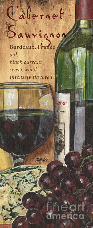 Cabernet Art Print featuring the painting Cabernet Sauvignon by Debbie DeWitt