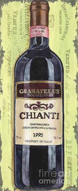 Alcohol Art Print featuring the painting Chianti And Friends Panel 1 by Debbie DeWitt
