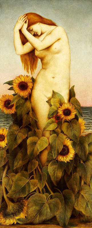 Sunflower Art Print featuring the painting Clytie by Evelyn De Morgan