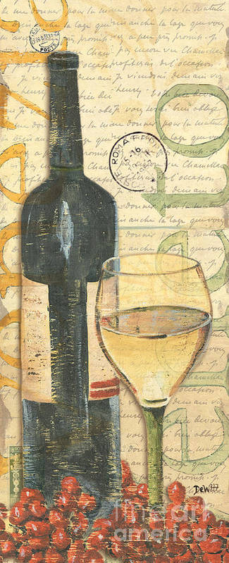 Wine Art Print featuring the painting Italian Wine And Grapes 1 by Debbie DeWitt