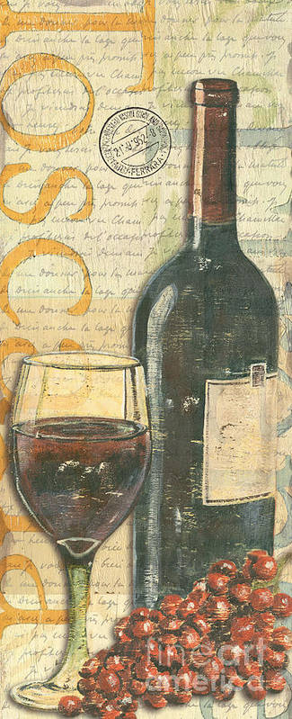 Wine Art Print featuring the painting Italian Wine And Grapes by Debbie DeWitt