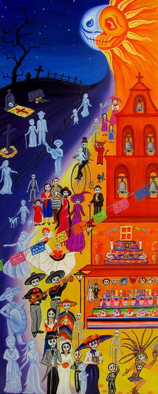 Dia De Los Muertos Art Print featuring the painting Nite And Day Procession by Evangelina Portillo
