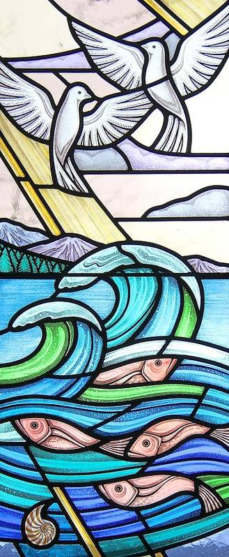 Stained Glass Art Print featuring the glass art Seascape by Gilroy Stained Glass